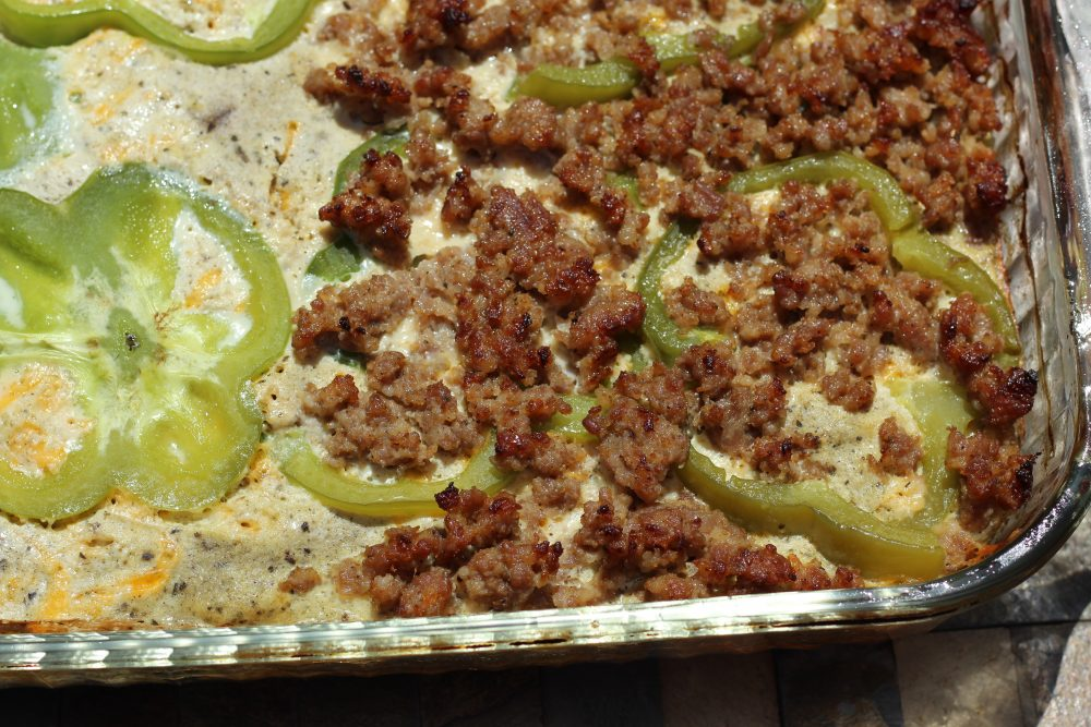 Brunch idea Hybrid recipe Sausage and Egg Casserole Veggie Loaded, Low Carbohydrate Recipe