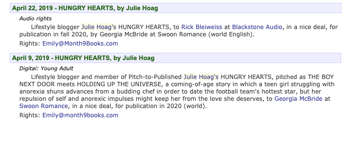 Hungry Hearts by Julie Hoag coming from Swoon Romance 2020