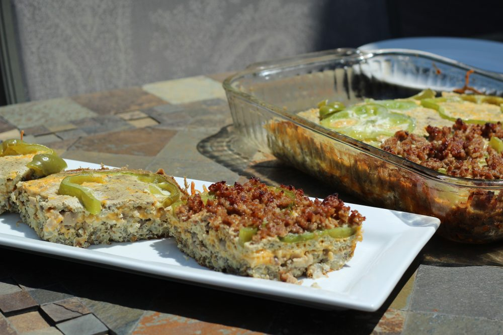 Sausage and Egg Casserole Veggie Loaded, Low Carbohydrate Recipe for breakfast or brunch