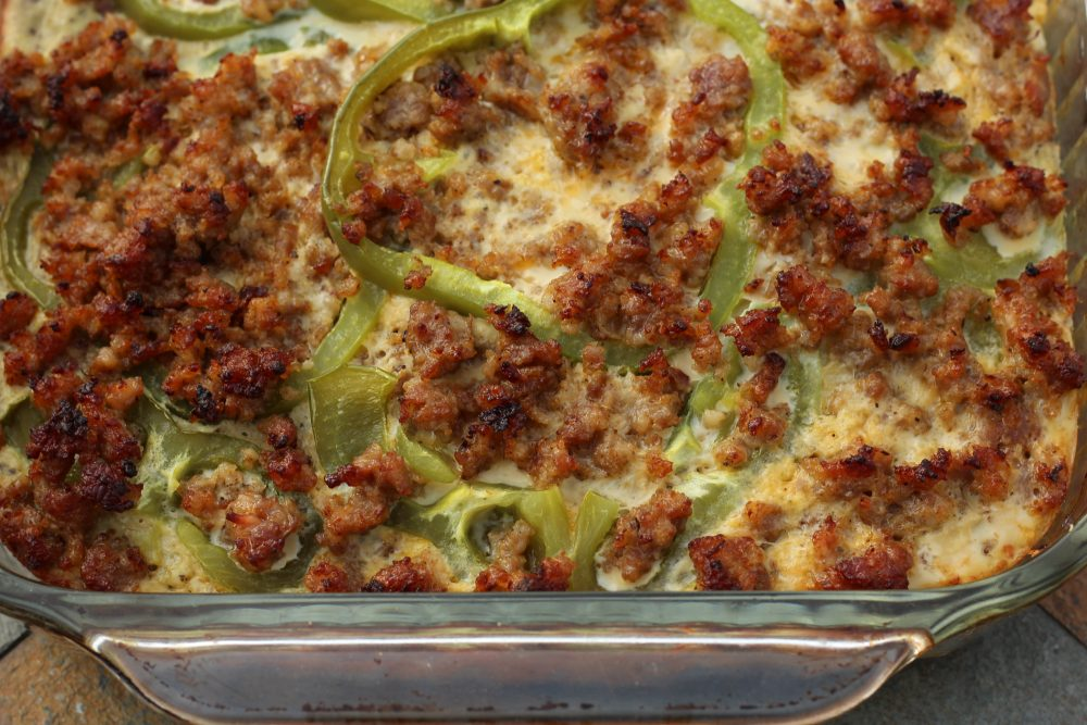 Sausage and Egg Casserole Veggie Loaded, Low Carbohydrate Recipe meat portion