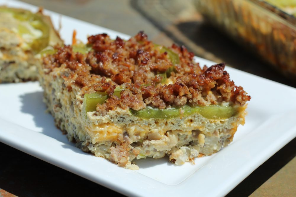 Sausage and Egg Casserole Veggie Loaded, Low Carbohydrate Recipe sausage piece
