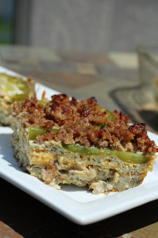 Sausage and Egg Casserole Veggie Loaded, Low Carbohydrate Recipe side view sausage piece. Breakfast recipe or brunch idea.