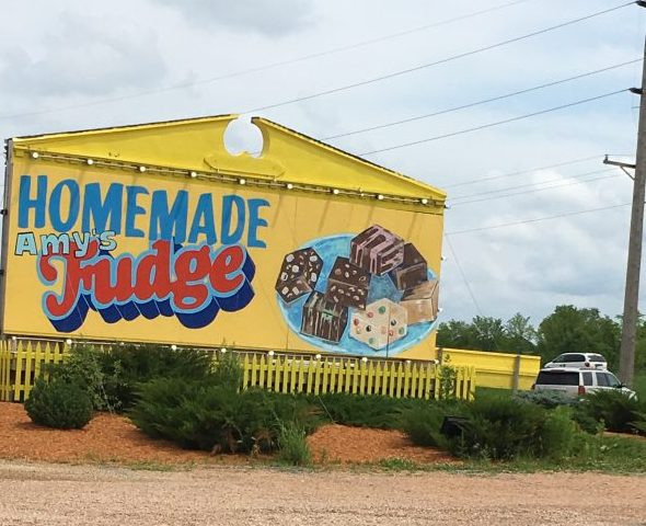 Minnesota's Largest Candy Store in Jordan Homemade fudge sign