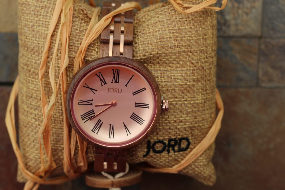 The lovely pink exquisite Cassia women's watch by JORD. Ladies designer watches.