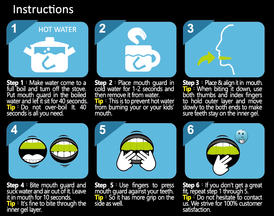 How to Mold a sports mouth guard for football. Step by step instructions graphic.