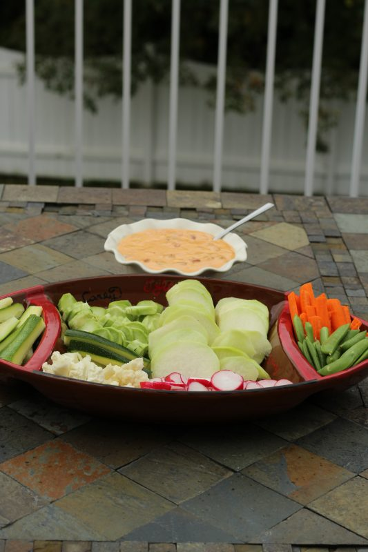 Low Carb Party Trays with Veggies and Queso Dip vegetable platter