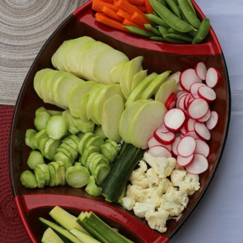 Low Carb Party Trays with Veggies and Queso Dip