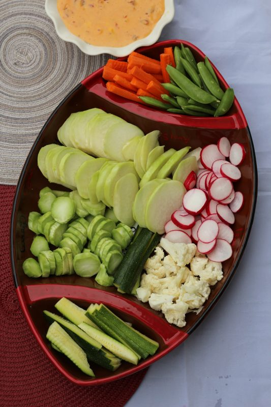 Low Carb Party Trays with Veggies and Queso Dip vegetable platters for parties