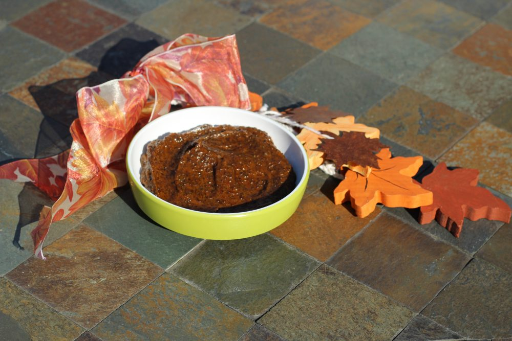 Pumpkin spice coffee scrub with essential oils for exfoliating skin