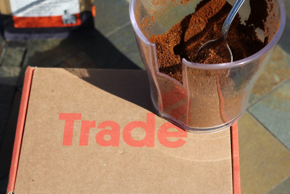 Trade box with ground coffee beans