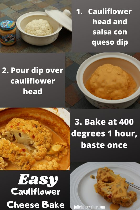 Easy cauliflower cheese bake with salsa con queso.