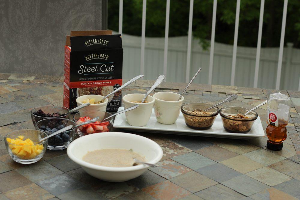 Breakfast Oatmeal bar with toppings self serve setup