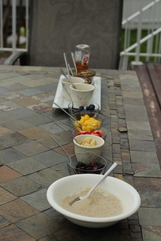 Breakfast Oatmeal bar setup for self serve meal the lineup