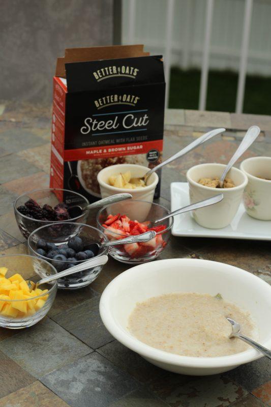 Toppings for an oatmeal breakfast bar
