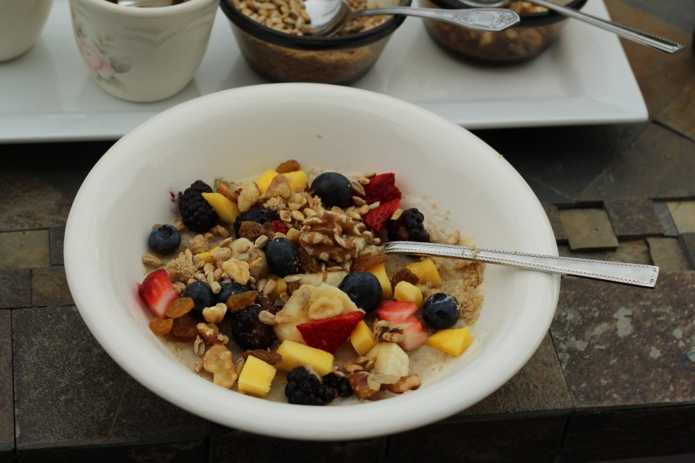 Oatmeal topped and ready to eat.
