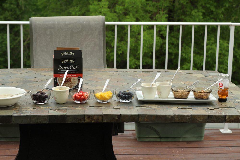 Breakfast Oatmeal bar setup for easy buffet a self serve oatmeal toppings