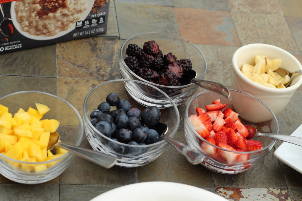 Fruit for an oatmeal breakfast bar for a family for for brunch guests