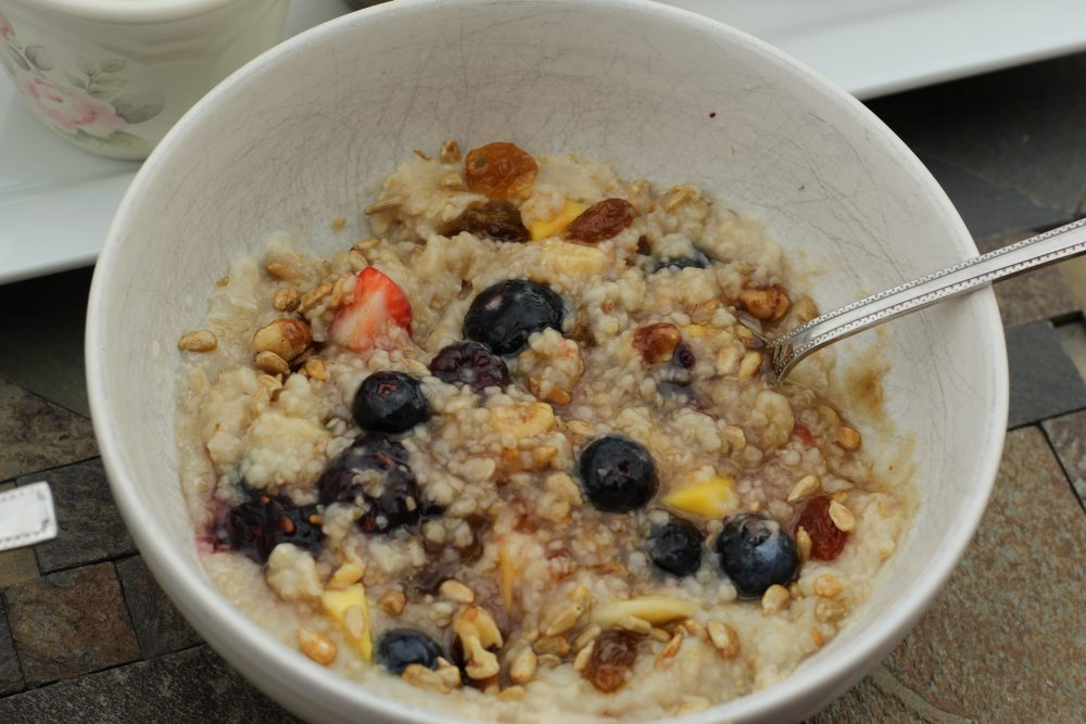 Oatmeal bowl topped and ready to eat