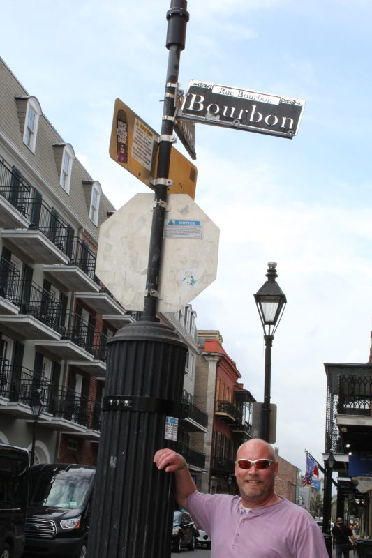 We stopped by the Bourbon street sign