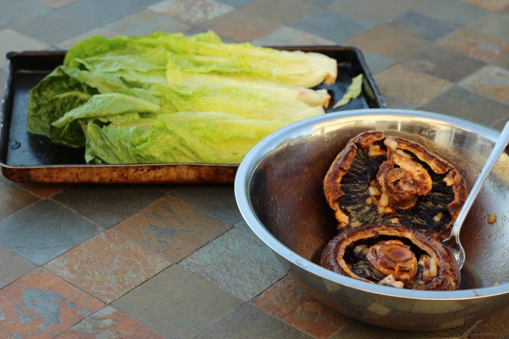 Grilled Salad with Romaine and  Portabella Mushrooms ready for the grill