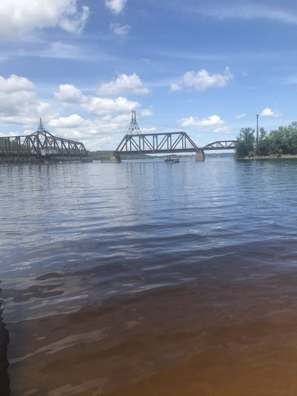 View of Train bridge from the island Lower St Croix River