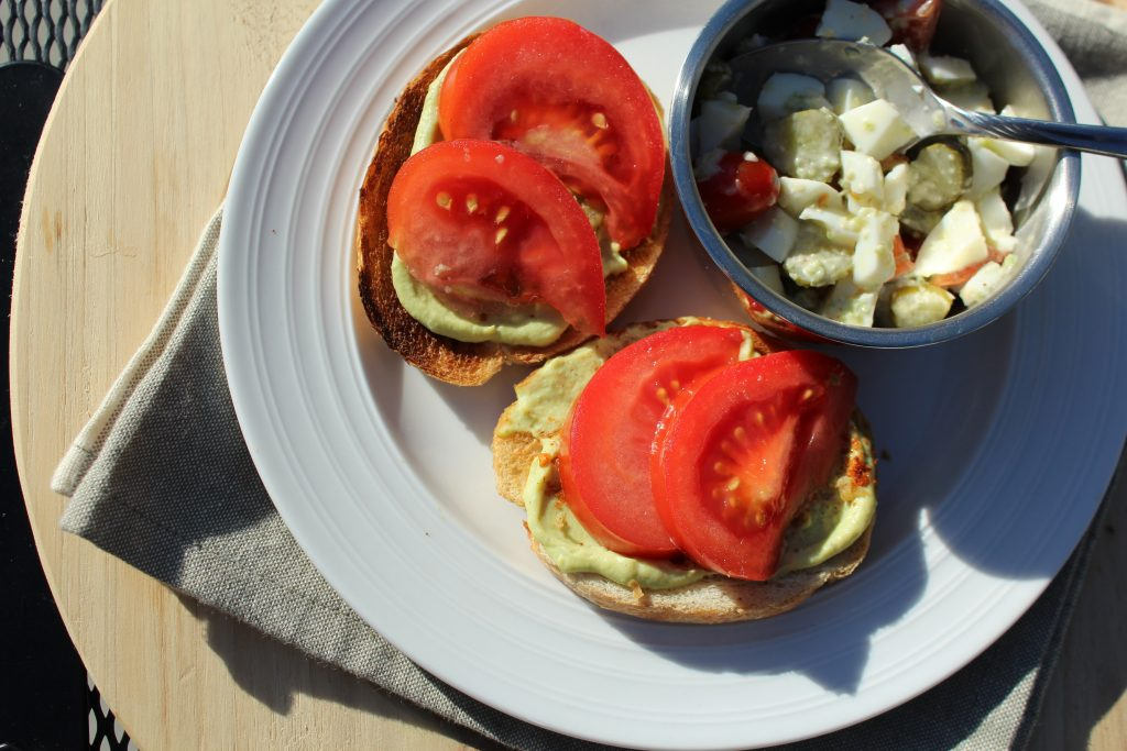 Avocado Egg Open Faced Sandwich Recipe with Egg White Salad serving lunch