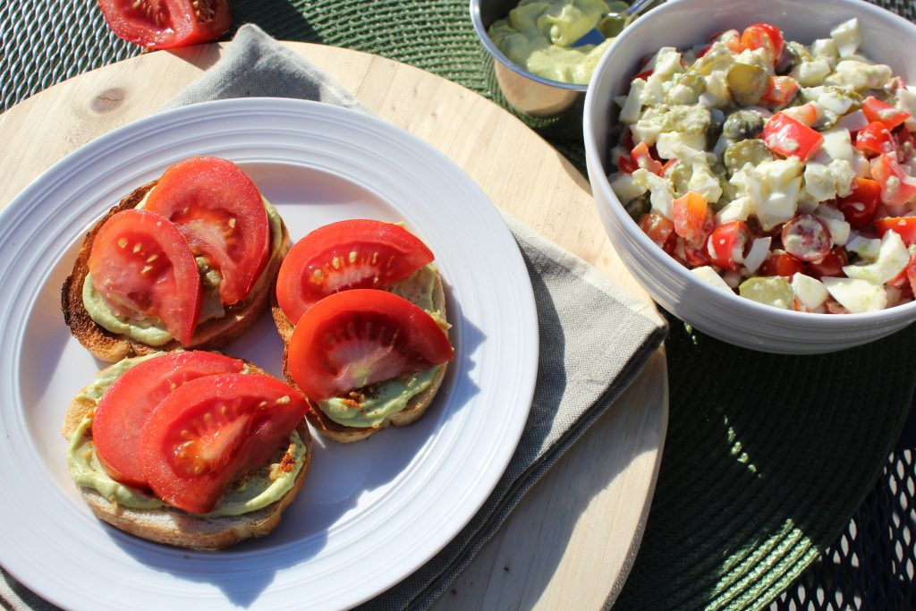 Avocado Egg Open Faced Sandwich Recipe with Egg White Salad meatless meal