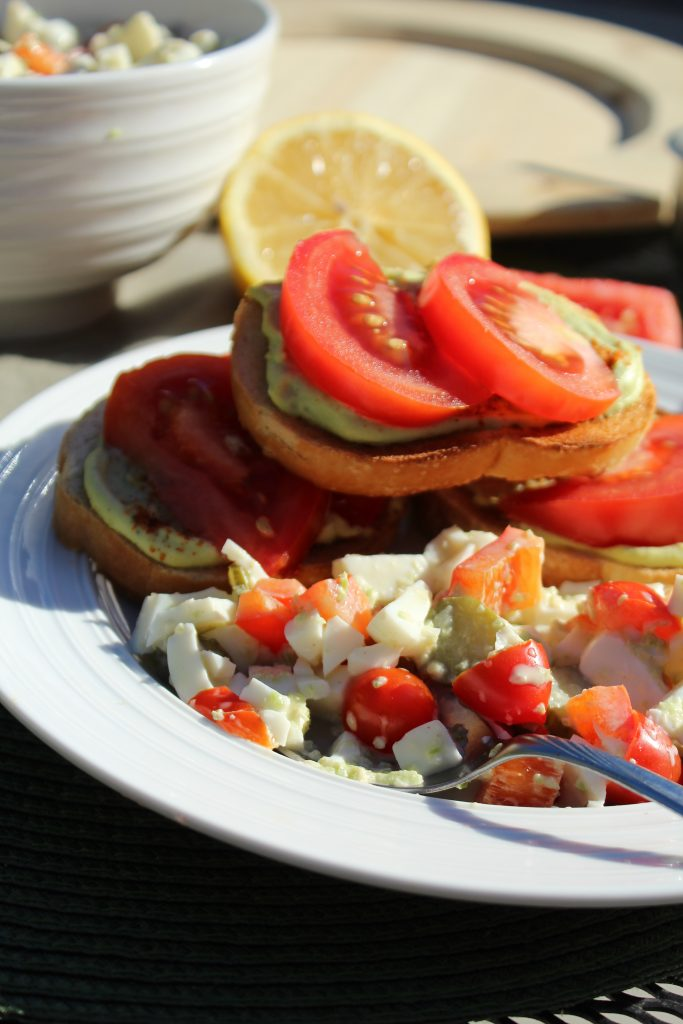 Avocado Egg Open Faced Sandwich Recipe with Egg White Salad lunch idea