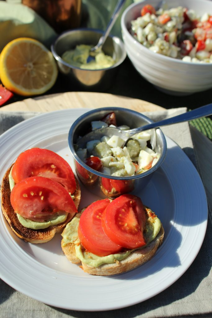 Avocado Egg Open Faced Sandwich Recipe with Egg White Salad