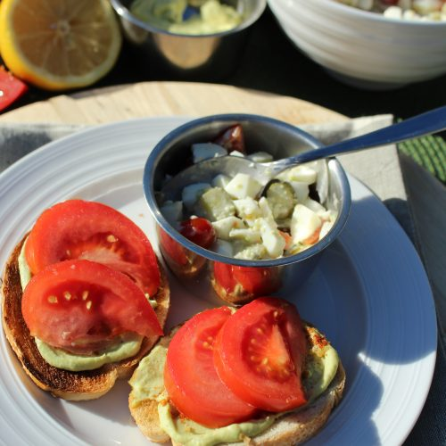 Avocado Egg Open Faced Sandwich Recipe with Egg White Salad vegetarian recipe