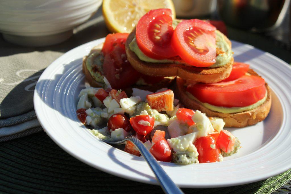 Avocado Egg Open Faced Sandwich Recipe with Egg White Salad