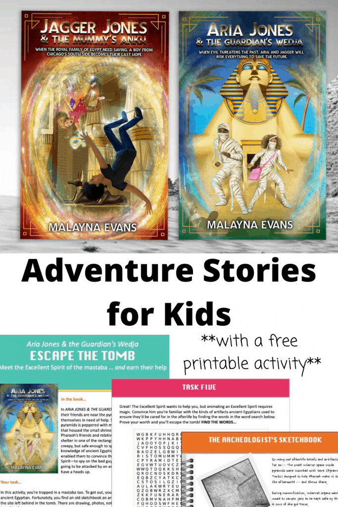 Adventure stories for kids with free printable activity about ancient Egypt
