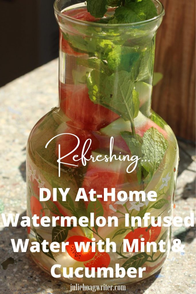 Refreshing beverage DIY at-home watermelon infused water with mint leaves and cucumber spears