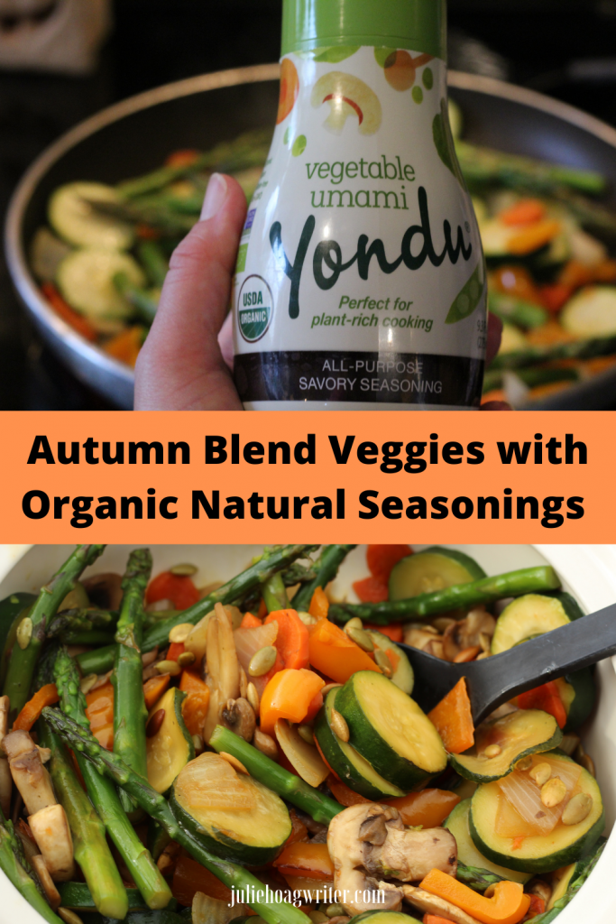 Autumn Blend Veggies with organic natural seasonings sauce. Vegetable essence for plant-rich cooking. Vegetarian dish, vegetable side dish recipe.