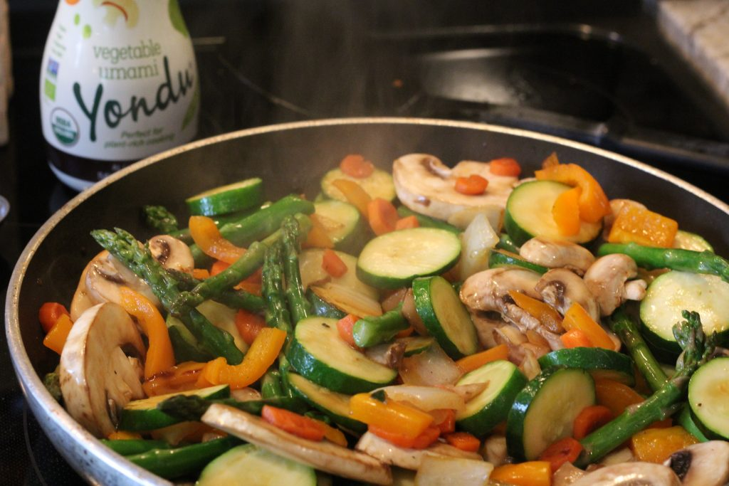 Yondu vegetable essence natural seasonings sauce on sauteed autumn blend veggies dish