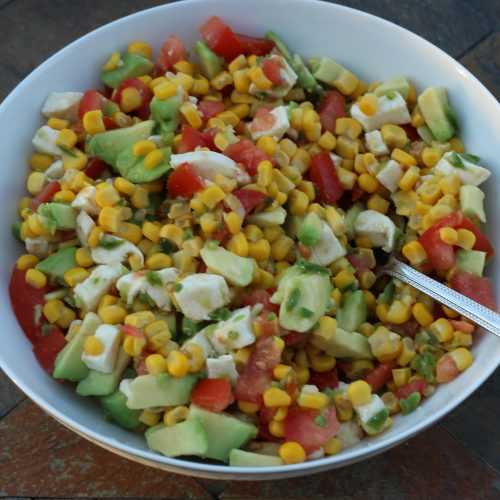 Avocado Corn Salad with tomatoes. A simple prep side dish.