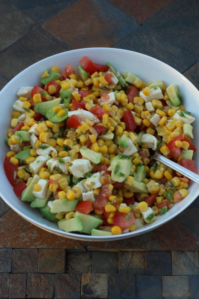 avocado corn and tomato salad side dish recipe, an easy prep dish high in fiber