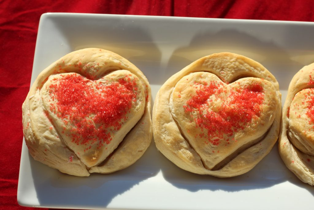 Heart shaped biscuits for Valentine's Day