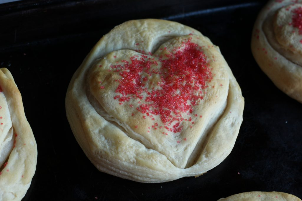 baked Heart shaped biscuits for Valentine's Day